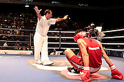 Milan, 01-09-2009 ITALY - Aiba World Boxing Championship Milan 2009.  Light Welter 64 kg preliminaries..Pictured: Sahatov Berdymurad Tkm red vs Klyuchko Oleksandr Ukr blue.Photo by Giovanni Marino/OTNPhotos . Obligatory Credit
