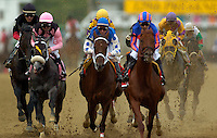 BALTIMORE, MD - Smarty Jones with Stewart Elliott aboard comes down the first stretch along side Lion Heart wins the 2004 Preakness Stakes at Pimlico race track May 15, 2004