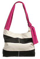 American Eagle tote bag with black and white bands and hot pink strap