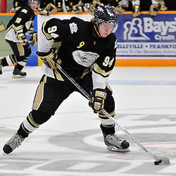 TRENTON, ON - Oct 26: Ontario Junior Hockey League game between Wellington Dukes and Trenton Golden Hawks. Jordan Minello #9 of the Trenton Golden Hawks skates with the puck during third period game action..(Photo by Shawn Muir / OJHL Images)