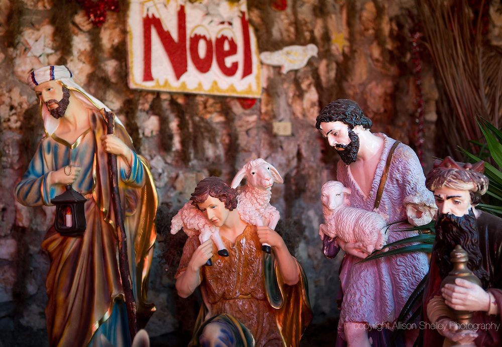 Five years after the 2010 quake, a holiday creche at the Sacre Coeur church features character statues, some of which were rescued damaged from the destroyed church, January 4, 2015.  Parishioners worship in a temporary structure as plans are finalized for a new permanent building.