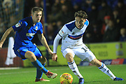 Ollie Rathbone looks to cross the ball during the EFL Sky Bet League 1 match between AFC Wimbledon and Rochdale at the Cherry Red Records Stadium, Kingston, England on 8 December 2018.