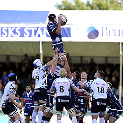 Bristol Rugby captain, Mark Sorenson catches the line out - Photo mandatory by-line: Joe Meredith/JMP - Tel: Mobile: 07966 386802 06/10/2013 - SPORT - FOOTBALL - RUGBY UNION - Memorial Stadium - Bristol - Bristol Rugby V Bedford Blues - The Championship