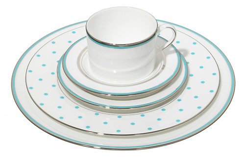 kate spade china dish set in blue polka dot and silver stripe