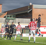 Declan Gallagher heads wide of the target - Hamilton v Dundee, SPFL Championship at <br /> New Douglas Park<br /> <br />  - &copy; David Young - www.davidyoungphoto.co.uk - email: davidyoungphoto@gmail.com
