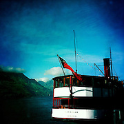 The New Zealand maritime flag  on the TSS Earnslaw, the 100 year old vintage coal fired passenger steam ship which sails on Lake Wakatipu, Queenstown, New Zealand. The popular tourist attraction is celebrating it's centenary year with celebrations planned for October 2012.  Queenstown, Central Otago, New Zealand. 29th February 2012. Photo Tim Clayton