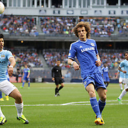 David Luiz, Chelsea and Sergio Aguero, Manchester City, (left), in action during the Manchester City V Chelsea friendly exhibition match at Yankee Stadium, The Bronx, New York. Manchester City won the match 5-3. New York. USA. 25th May 2012. Photo Tim Clayton