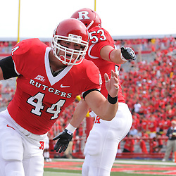 Sep 7, 2009; Piscataway, NJ, USA; Rutgers linebacker Ryan D'Imperio (44) warms up prior to Rutgers game against Cincinnati in NCAA college football at Rutgers Stadium.