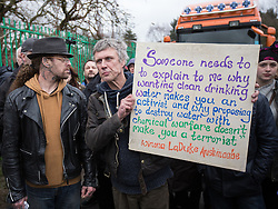 © Licensed to London News Pictures . 17/03/2014 . Barton Moss , Salford , UK . Happy Mondays dancer , BEZ ( Mark Berry ) , joins protesters at the Barton Moss anti-fracking protest site in Salford today (Monday 17th March 2014) . Bez has said he will stand for MP in the constituency of Salford and Eccles in 2015 . Photo credit : Joel Goodman/LNP
