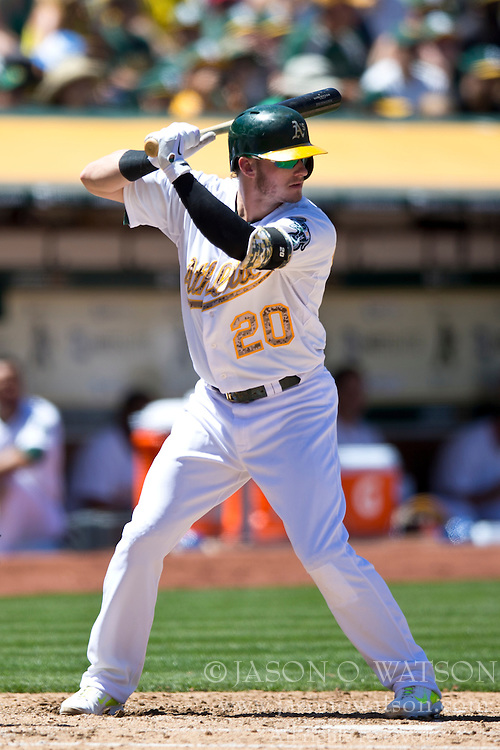 OAKLAND, CA - MAY 26:  Josh Donaldson #20 of the Oakland Athletics at bat against the Detroit Tigers during the fourth inning at O.co Coliseum on May 26, 2014 in Oakland, California. The Oakland Athletics defeated the Detroit Tigers 10-0.  (Photo by Jason O. Watson/Getty Images) *** Local Caption *** Josh Donaldson