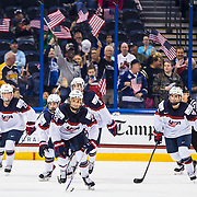 United States teammates celebrate one goal during the third period of the Four Nations Cup championship hockey game against Canada in Tampa, Fla., Sunday, Nov. 12, 2017. USA won 5-1. (Willie J. Allen Jr.)