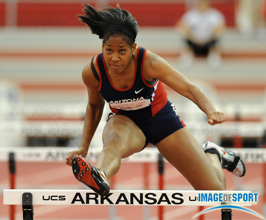 Mar 15, 2008; Fayetteville, AR, USA; Shevell Quinley of Arizona ran 8.58 in the pentathlon 60m hurdles for 1,000 points in the NCAA indoor track and field championships at the Randal Tyson Center. Quinley finished third with 4,256 points.
