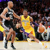 19 March 2014: Los Angeles Lakers guard MarShon Brooks (2) drives past San Antonio Spurs forward Boris Diaw (33) during the San Antonio Spurs 125-109 victory over the Los Angeles Lakers at the Staples Center, Los Angeles, California, USA.