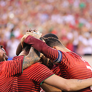 Cristiano Ronaldo, (right), Portugal, celebrates a goal from team mate Hugo Almeida during the Portugal V Ireland International Friendly match in preparation for the 2014 FIFA World Cup in Brazil. MetLife Stadium, Rutherford, New Jersey, USA. 10th June 2014. Photo Tim Clayton