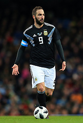 Gonzalo Higuain of Argentina - Mandatory by-line: Matt McNulty/JMP - 23/03/2018 - FOOTBALL - Etihad Stadium - Manchester, England - Argentina v Italy - International Friendly