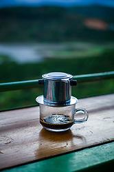 Coffee filtering in a cup, Da Lat, Vietnam, Southeast Asia