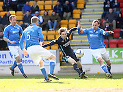 Craig Wighton gets in a cross despite being outnumbered - St Johnstone v Dundee, SPFL Premiership at McDiarmid Park<br /> <br />  - &copy; David Young - www.davidyoungphoto.co.uk - email: davidyoungphoto@gmail.com