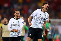 May 2, 2018 - Rome, Italy - VIRGIL VAN DIJK and DEJAN LOVREN of Liverpool celebrate during the AS Roma v FC Liverpool Champions League semi-final second leg at Olimpico Stadium. (Credit Image: © Matteo Ciambelli/NurPhoto via ZUMA Press)