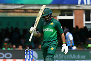 Wicket - Imam-ul-Haq of Pakistan looks dejected as he walks back to the pavilion after being dismissed by hitting his wicket during the ICC Cricket World Cup 2019 match between Pakistan and Bangladesh at Lord's Cricket Ground, St John's Wood, United Kingdom on 5 July 2019.