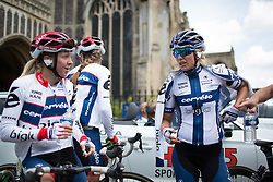 Stephanie Pohl (GER) and Lotta Lepistö (FIN) of Cervélo-Bigla Cycling Team catch up after the finish of the Aviva Women's Tour 2016 - Stage 1. A 138.5 km road race from Southwold to Norwich, UK on June 15th 2016.