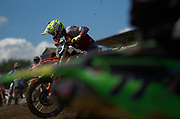 Tony Cairoli gets a feel for the unique downhill start during Saturday's practice session.