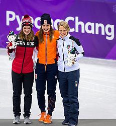 22-02-2018 KOR: Olympic Games day 13, PyeongChang<br /> Short Track Speedskating / Shorttrackster Suzanne Schulting heeft dankzij een magistrale finale de olympische titel veroverd op de 1.000 meter. Kim Boutin of Canada silver and bronze for Arianna Fontana of Italy
