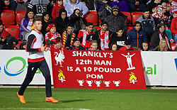 ADELAIDE, AUSTRALIA - Sunday, July 19, 2015: Liverpool supporters' banner 'Shankly's 12th Man is a 10 pound pom' during a training session at Coopers Stadium ahead of a preseason friendly match against Adelaide United on day seven of the club's preseason tour. (Pic by David Rawcliffe/Propaganda)