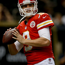 Aug 9, 2013; New Orleans, LA, USA; Kansas City Chiefs quarterback Tyler Bray (9) against the New Orleans Saints during a preseason game at the Mercedes-Benz Superdome. Mandatory Credit: Derick E. Hingle-USA TODAY Sports