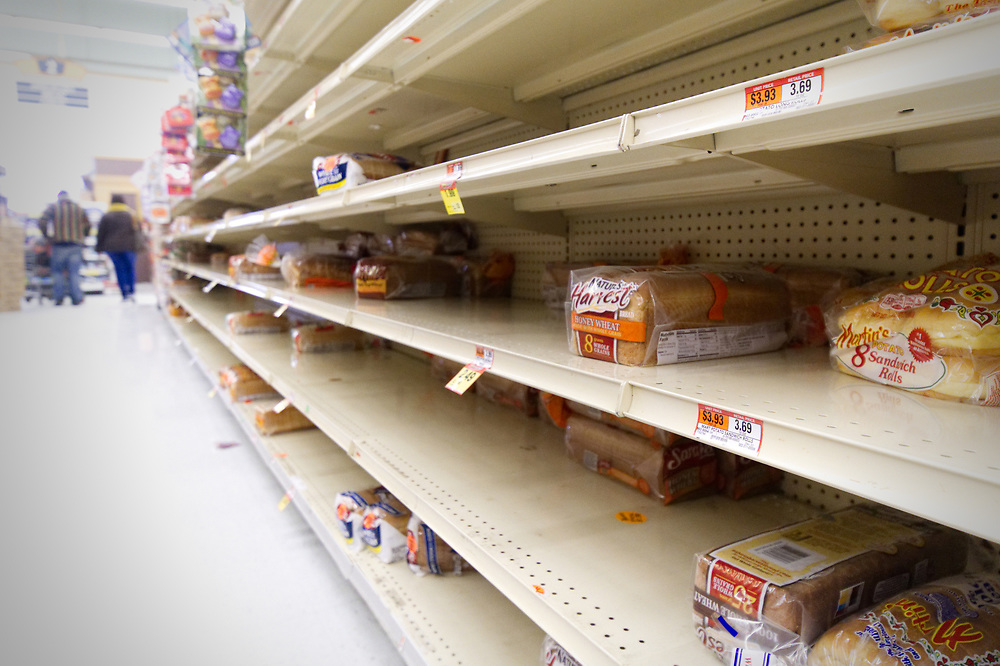 The bread isle of a Philadelphia, PA grocery store is near empty as the region braces for the 'Bomb Cyclone' winter storm Grayson, on January 4, 2018.