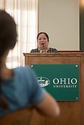 Ohio University Vice President for Diversity and Inclusion Gigi Secuban speaks during the Women's Mentoring Meet and Greet event on Sept. 4, 2018 in Walter Rotunda. Photo by Hannah Ruhoff