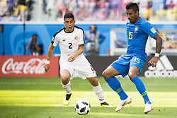 June 22, 2018 - Sankt Petersburg, Russia - 180622 Paulinho of Brazil and Johnny Acosta of Costa Rica during the FIFA World Cup group stage match between Brazil and Costa Rica on June 22, 2018 in Sankt Petersburg..Photo: Petter Arvidson / BILDBYRÃ…N / kod PA / 92075 (Credit Image: © Petter Arvidson/Bildbyran via ZUMA Press)