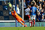Colin Doyle (1) of Bradford City makes a save during the EFL Sky Bet League 1 match between Portsmouth and Bradford City at Fratton Park, Portsmouth, England on 28 October 2017. Photo by Graham Hunt.