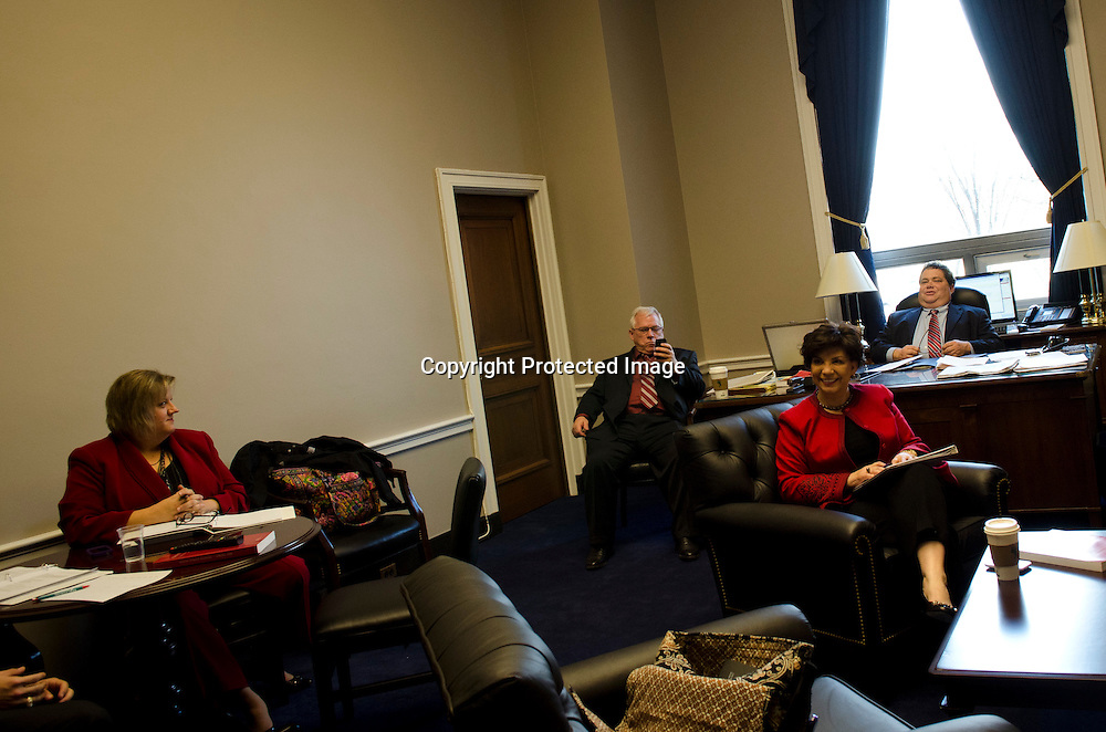 Representative Blake Farenthold(R-TX) speaks with his new staff in his office in the Rayburn House Office Building on Capitol HIll on January 5, 2010. Before being sworn in with other members of the 112th congress. Photo by Kris Connor