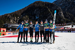 Anze Semenic (SLO), Peter Prevc (SLO), Domen Prevc (SLO), Timi Zajc (SLO), Tilen Bartol (SLO) posing for a team photo,  Day 4 of FIS Ski Jumping World Cup Final 2019, on March 24, 2019 in Planica, Slovenia. Photo Peter Podobnik / Sportida