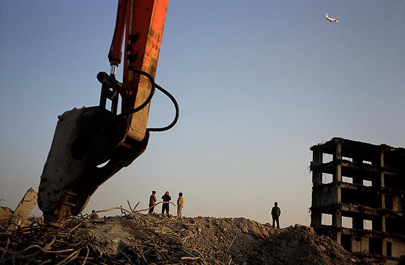 Demolition for the new Hongqiao railway station. Shanghai, China 2008