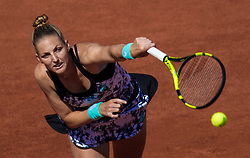 May 29, 2018 - Paris, France - Kristyna Pliskova of Czech Republic serves against Serena Williams of United States during the first round at Roland Garros Grand Slam Tournament - Day 3 on May 29, 2018 in Paris, France. (Credit Image: © Robert Szaniszlo/NurPhoto via ZUMA Press)