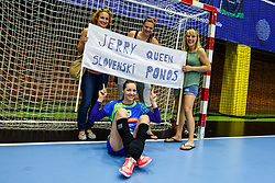 Nina Jericek with her friends after her last match in her career after qualifying match for world championship between Slovenia and Croatia in Dvorana Golovec , Celje, Slovenia. Photo by Grega Valancic / Sportida