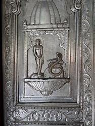 Ornate metal door at Jain Temple, Mumbai