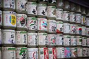 Sake barrels at Meije Shrine in Tokyo (Japan)