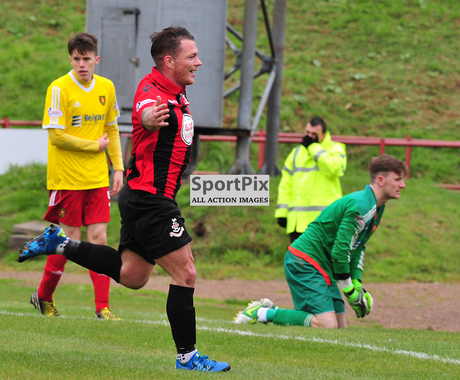David Cox of Airdrie celebrates his team's third goal against the wee Rovers.....(c) BILLY WHITE | SportPix.org.uk