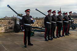 A 21-gun salute is fired by 32 Regiment Royal Artillery to celebrate the 67th anniversary of the Queen's accession to the throne.