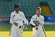 Batsmen Josh Tongue of Worcestershire and Ed Barnard of Worcestershire walk off the field at the end of the first days play during the Specsavers County Champ Div 1 match between Somerset County Cricket Club and Worcestershire County Cricket Club at the Cooper Associates County Ground, Taunton, United Kingdom on 20 April 2018. Picture by Graham Hunt.