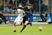 Stephan El Shaarawy of AS Roma and Davide Santon of Inter during the Italian championship Serie A football match between FC Internazionale and AS Roma on January 21, 2018 at Giuseppe Meazza stadium in Milan, Italy - Photo Morgese - Rossini / ProSportsImages / DPPI