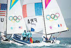 2012 Olympic Games London / Weymouth<br /> Matchrace day 3 round robin<br /> Match RaceUSATunnicliffe Anna, Capozzi Deborah, Vandemoer Molly O'Bryan<br /> Match RaceFRALeroy Claire, Bertrand Elodie, Riou Marie