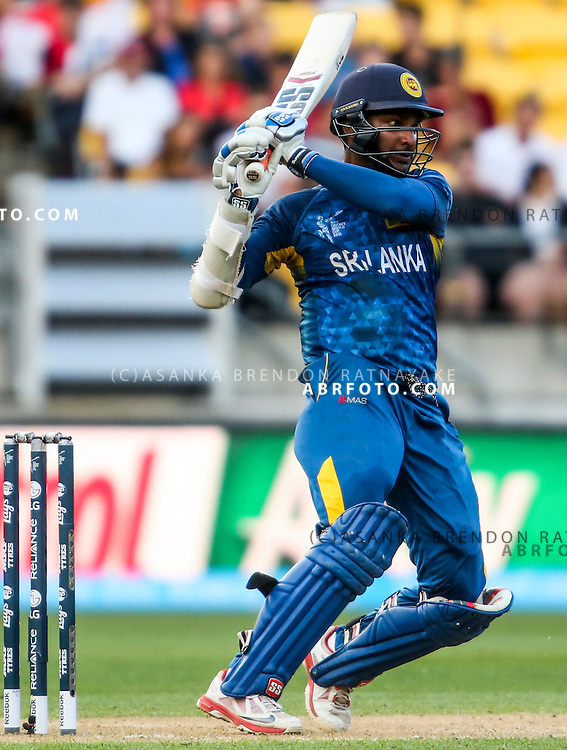 Kumar Sangakkara plays a pull shot  during the 2015 ICC Cricket World Cup Pool A group match between England Vs Sri Lanka at the Wellington Regional Stadium, Wellington, New Zealand.