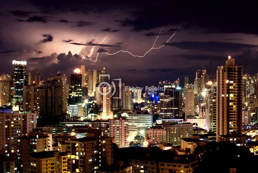 Lightning Storm Over Panama City Republic Of