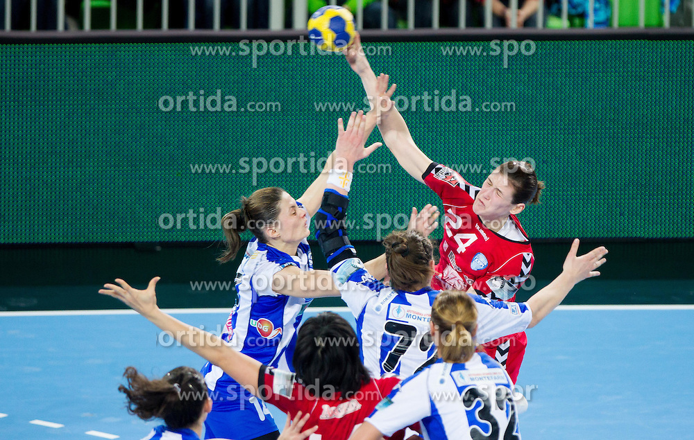 Maja Savic of Buducnost  vs Kristina Franic of Krim during handball match between RK Krim Mercator and Buducnost Podgorica (MNE) in season 2011/2012 of EHF Women's Champions League, on February 24, 2012 in Arena Stozice, Ljubljana, Slovenia. Buducnost defeated Krim 27-26. (Photo By Vid Ponikvar / Sportida.com)