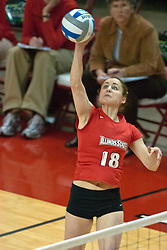 12 November 2006: Jessie Janik powers a strike from the outside. In the final regular season home game at ISU, the Northern Iowa Panthers defeated the Illinois State Redbirds 3 game to 1. The match took place at Redbird Arena on the campus of Illinois State University in Normal Illinois.<br />