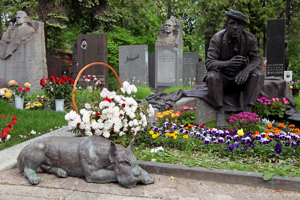Europe, Russia, Moscow. Novodevichy Convent Cemetery - grave of Nikouline.