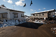 Tsunami and earthquake damage is seen in a residential area in Otsuchi, Japan after the earthquake and tsunami hit the town on 11 March 2011.